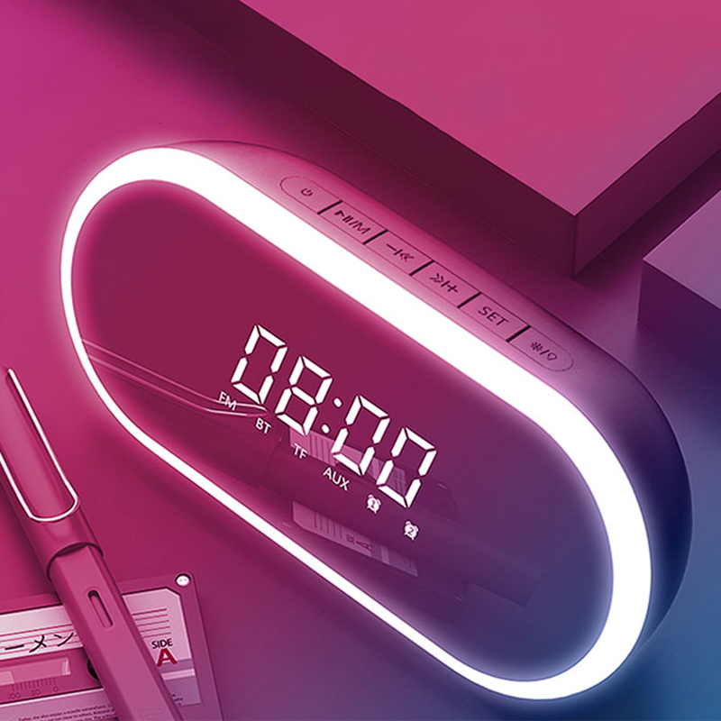 BT2280 alarm clock+mirror+LED bluetooth speaker